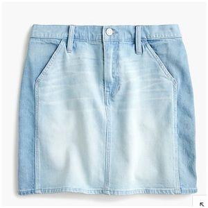 J. Crew Two Tone Denim Mini Skirt Light Wash